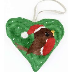 Make your own handmade Christmas decorations for your tree with this charming little robin tapestry heart kit.