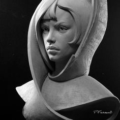 Stoneflower - I'm currently carving her in marble. #philippefaraut #portraiture #claymodeling