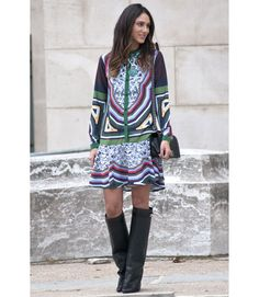 How elegant is this patterned dress, and how great does it look with those high boots? Correct answer: Really elegant, really great.   - MarieClaire.com