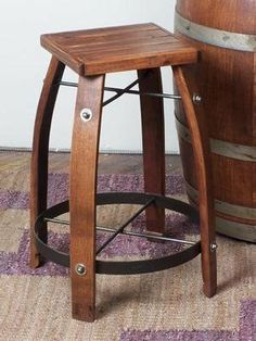 Designs 26 Stave Stool w/ Wood Top - Recycled wine barrel staves creatively designed into bar stools. Stave stools are ecofriendly wine barrel furniture. Rico Design, Design 24, Wood Design, Design Styles, House Design, Home Bar Furniture, Rustic Furniture, Furniture Logo, Primitive Furniture