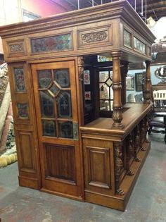 8Ft Mahogany U0026 Oak Canopy Round Home Pub Bar W/ Stained Glass U0026 Rails |  Basement | Pinterest | X2f;stained, Specials And Orders