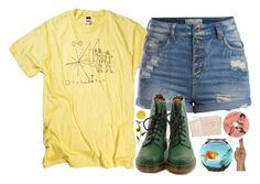 """""""I'll be the brightest, you'll see"""" by tarynasaurus ❤ liked on Polyvore featuring moda, Pieces, Dr. Martens e Hahn"""