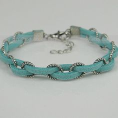 awesome DIY Bijoux - Braid Bracelet Leather Bracelet Antique Silver Rings Braided with Thin Leather C...