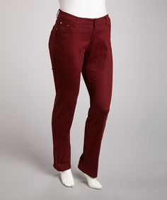 Take a look at this Burgundy Straight-Leg Jeans - Plus by Youya on #zulily today!