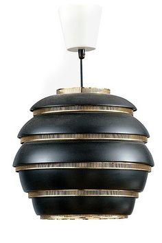 Alvar Aalto 1898-1976 CEILING LAMP.   Beehive A331. Black painted metal shade and brass fittings. Manufactured by Valaistustyö. Designed 1953. Height 30,5 cm. price realised: EUR 4886.00