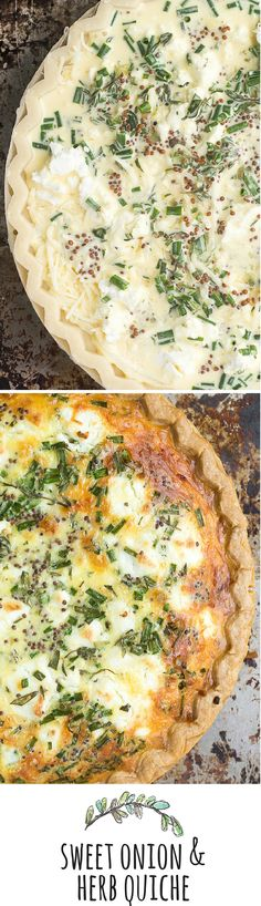 Sweet Onion and Herb Quiche is the perfect recipe --- easy to prep, it goes from breakfast to brunch, to lunch, to dinner without blinking an eye. Quiche Recipes, Brunch Recipes, Breakfast Recipes, Dinner Recipes, Vegetarian Recipes, Cooking Recipes, Healthy Recipes, Vegetarian Quiche, Keto Quiche