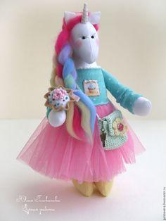 """Купить """"Радужый единорог розовый"""" игрушка текстильная - единорог, единорожка, единорог игрушка, подарок на рождение"""