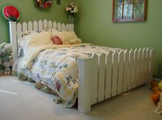 4x4 and 2x4 fence headboard. Aged gray boards for the boys' rooms.