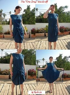"""The """"One Dress"""" (Convertible Dress) with patern making instructions - """"Robe Une… Diy Clothing, Sewing Clothes, Clothing Patterns, Dress Patterns, Convertible Clothing, Convertible Dress, Fashion Sewing, Diy Fashion, Robe Diy"""