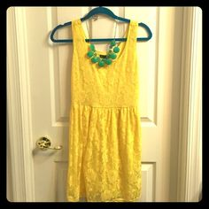 Yellow lace sundress, Small Cutest yellow lace sundress. Elastic waist, lots of stretch. Perfect condition, worn once for a wedding rehearsal. BeBop Dresses