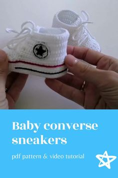 Digital pattern includes pdf description with photos and video tutorial with subtitles. Inspired by Converse, this crochet pattern of baby booties makes a great and memorable pregnancy gift, baby shower gift, fashion baby outfit.#crochetpattern#crochetbabyshoes#babybooties Crochet Coaster Pattern, Crochet Doll Pattern, Crochet Toys Patterns, Stuffed Toys Patterns, Crochet Ideas, Pregnancy Gift For Friend, Pregnancy Gifts, Baby Booties, Baby Shoes