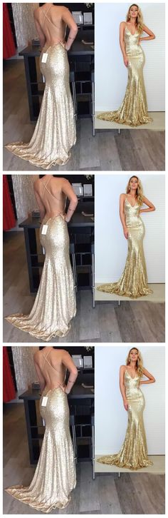 Spaghetti Straps Prom Dress,Backless Prom Dresses,Long Evening Dress