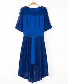 New Fashion Ladies' Elegant stylish removable zipper Dress O neck short sleeve casual slim brand designer dress