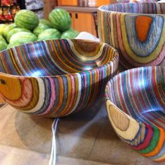 Rainbow wooden bowls by patrica