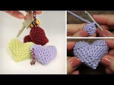 ▶ DIY Häkel-HERZ - VALENTINSTAG - Schlüssel- Kettenanhänger - Rundhäkeln, Maschen abnehmen - YouTube Diy Crochet And Knitting, Crochet Needles, Crochet Videos, Crochet Crafts, Crochet Stitches, Diy And Crafts Sewing, Diy Arts And Crafts, Sewing Projects, Half Double Crochet