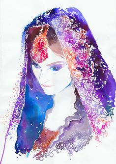 Items similar to Print of Original Watercolor Fashion Illustration, Watercolour Painting, titled: Indian Bride violet on Etsy