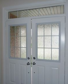 Decorative window film installed by Budget Blinds can be a great solution for entry doors!