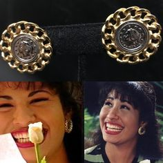 Selena Quintanilla inspired jewelry Coin earrings with gold chain trim