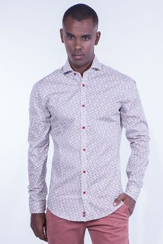 Slim Fit Bordeaux Shirt In Microdesigns