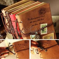 Leather bound vintage stitched books, beautiful