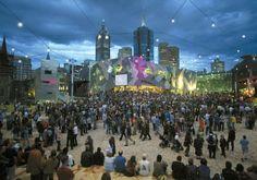 Catenary Lighting System Utilise Luminaire Suspension on Fed Square Lighting System, Urban Landscape, Most Popular, Dolores Park, Places To Visit, Melbourne Australia, City, World, Squares