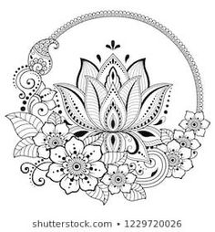 Circular pattern in form of mandala with lotus flower for henna, mehndi, tattoo, decoration. decorative ornament in ethnic oriental style. Lotus Henna, Lotus Mandala, Mandala Art Lesson, Mandala Drawing, Mandala Tattoo Design, Flower Pattern Drawing, Flower Patterns, Rosa Tattoos, Flower Tattoos