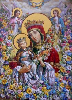 Mary Mother of God and Baby Jesus Divine Mother, Blessed Mother Mary, Blessed Virgin Mary, Jesus And Mary Pictures, Mary And Jesus, Religious Icons, Religious Art, Queen Of Heaven, Mama Mary
