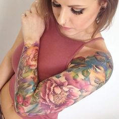 Today, millions of people have tattoos. From different cultures to pop culture enthusiasts, many people have one or several tattoos on their bodies. While a lot of other people have shunned tattoos… Best Sleeve Tattoos, Sleeve Tattoos For Women, Hot Tattoos, Tattoo Sleeve Designs, Pretty Tattoos, Beautiful Tattoos, Body Art Tattoos, Girl Tattoos, Floral Sleeve Tattoos