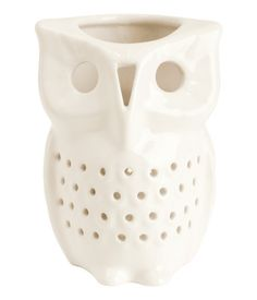 OWL TEA LIGHT HOLDER, GREAT FOR A WHITE HALLOWEEN ACCENT