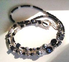Jet/Black & Smokey Gray/Silver Lanyard w/Swarovski Crystals<>Dressy Work Accessory<>ID Badge Holder <>Key/Eye Glasses Holder<> Lightweight<>