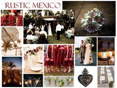 Rustic Mexican wedding dark red burgandy color pallet