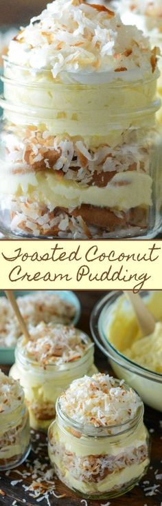 Toasted Coconut Cream Pudding: a cross between coconut cream pie & banana puddin. Toasted Coconut Cream Pudding: a cross between coconut cream pie & banana pudding, with layers of creamy coconut pudding, vanilla wafers & toasted coconut! Mini Desserts, Coconut Desserts, Pudding Desserts, Coconut Recipes, Pudding Recipes, Easy Desserts, Delicious Desserts, Dessert Recipes, Yummy Food