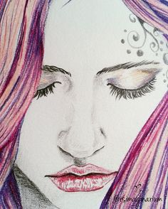 Close up of the #wip of another #drawing in my new collection of #artworks. 😊 😚 I love pink hair but it doesn't fit with me 😅 What about you guys?😁 #painting #beauty  #portrait #pencildraw #workinprogress #femaleart #rsimaginarium #illustration #artist #watercolour #winsorandnewton #fabercastel #art #lovepink #pinkhair