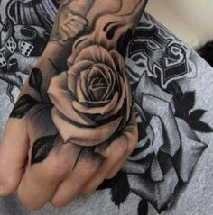 Rose black white Hand Tattoo #Tattoo, #Tattooed, #Tattoos