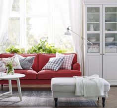 Ikea - A white living room with a red STOCKSUND sofa, LIATORP cabinet and bookcase in white, storage in calm white. Home Living Room, Room Design, Ikea Living Room, Colorful Living Room Design, Red Couch Living Room, Stocksund Sofa, Couches Living Room, Home And Living, Living Room Designs