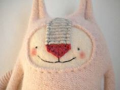 Stuffed Animal Cat Baby Pink Angora Wool Upcycled by sweetpoppycat
