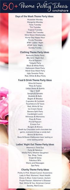 Here's a list of fantastic Theme Party Ideas for your direct sales biz! Here's a list of fantastic Theme Party Ideas for your direct sales biz! Be sure to share with your teams! Holi Party, Derby Party, Party Games, Ideas Party, Theme Ideas, Fun Ideas, Adult Party Ideas, Party List, Planner Organization