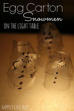 Make egg carton snowmen to build this winter - such a fun activity for kids