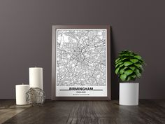 Excited to share the latest addition to my #etsy shop: Birmingham map print, Minimalistic wall art poster, England gifts, Birthday Gift, For father, Father
