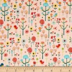 "(Carry Them Close exclusive ""WILDFLOWERS"").   Fabric Name: 'Roots and Wings Coral Garden'.  Designed by Deena Rutter for Riley Blake, Colors include poppy, blue, yellow, green, coral, and blush."
