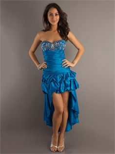 Strapless High-Low Embellished Bodice Ruffled Prom Dress PD10614 www.dresseshouse.co.uk $88.0000
