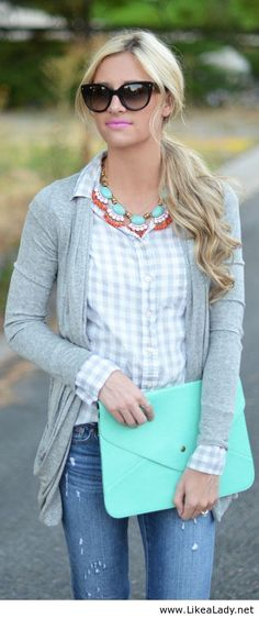 Gray button up and cardigan