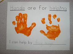 "Hh is for ""Hands are for helping. I can help by __."" Cute connection to service."