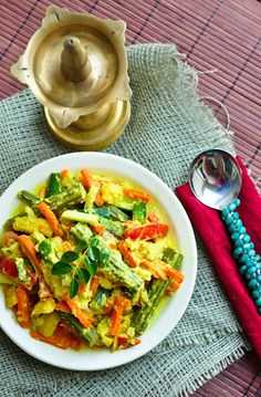 Kerala Style Avial (Mixed vegetables in coconut and yogurt sauce)