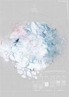 Yufei Li, Vanishing - A Vanishing Glacier Landscape Diagram, Landscape And Urbanism, Landscape Drawings, Urban Landscape, Architecture Mapping, Architecture Graphics, Concept Architecture, Architecture Posters, Map Design