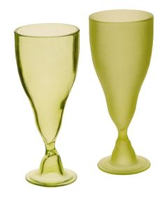 Goblets by the pair from recycled glass -- the ultimate green gift. recycled glass, charming in plain with no design. Green Gifts, Recycled Glass, Frost, Recycling, Tableware, Party Ideas, Dinner, Google, Image