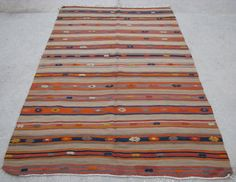 Turkish Antique Fethiye Stripe Cicim Kilim Rug - 133cm x 219cm - 4'4.4'' x 7'2.2'' Excluding Fringes