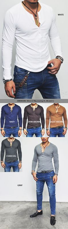 Tops :: Tees :: Washed Cotton Henley Button Stitch Accent-Tee 227 - Mens Fashion Clothing For An Attractive Guy Look
