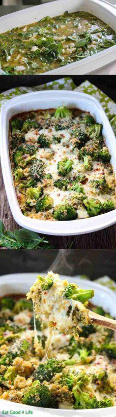baked, broccoli, casserole, cheese, healthy, mozzarella, parmesan, pesto, quinoa, recipes, spinach, vegetable