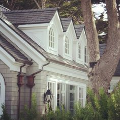 Wonderful dormers.....Lilyfield Life: Beautiful homes in Carmel, California look at the copper gutters. Nice.